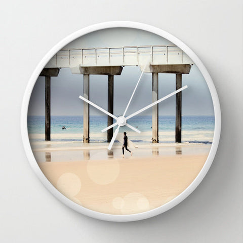Art Wall Clock Boardwalk 1 fine art Modern Geometric Nautical Beach photography home decor Circles Lines - Sylvia Coomes