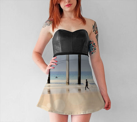Women's Art Flare Skirt Boardwalk 1 fine art Modern Geometric Nautical Beach photography Fashion Lines Circles Sand Ocean Blue Mod