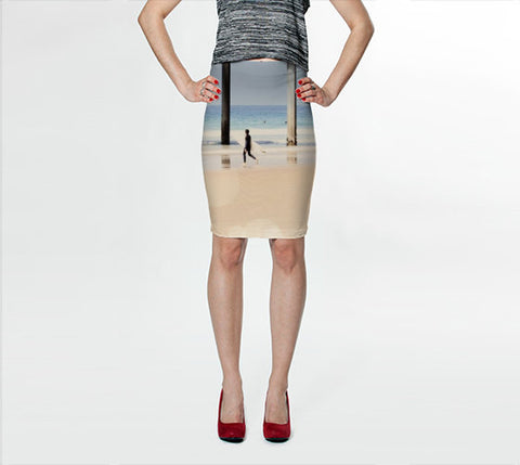 Women's Art Fitted Skirt Boardwalk 1 fine art Modern Geometric Nautical Beach photography spring summer Print Printed Fashion Pencil Skirt - Sylvia Coomes