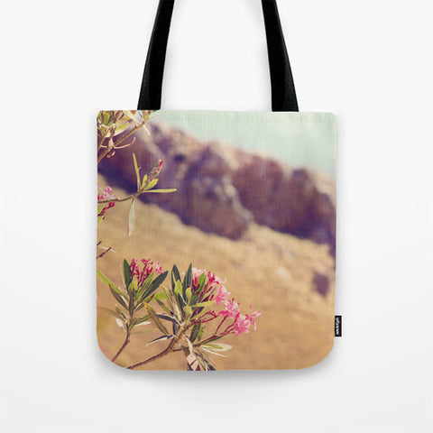Art Tote Bag Flowers in Paradise 1 fine art Modern Landscape photography Spring Summer Fashion Pink Flowers brown rock cliff blue green