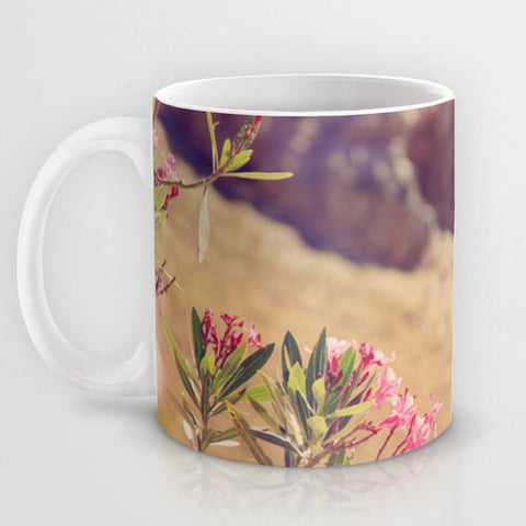 Art Coffee Cup Mug Flowers in Paradise 1 fine art Modern Landscape photography home decor Java Lovers pink brown blue green floral photo - Sylvia Coomes