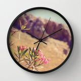 Art Wall Clock Flowers in Paradise 1 fine art Modern Landscape photography home decor Circles Lines pink tan brown blue green floral - Sylvia Coomes