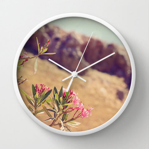 Art Wall Clock Flowers in Paradise 1 fine art Modern Landscape photography home decor Circles Lines pink tan brown blue green floral