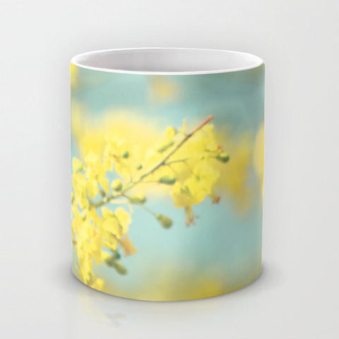 Art Coffee Cup Mug Sunny Blooms 2 fine art Modern Flower photography home decor bright yellow bokeh circle pastel blue geometric abstract - Sylvia Coomes