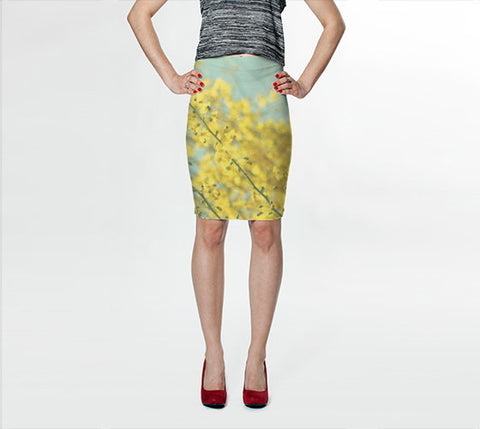 Women's Art Fitted Skirt Sunny Blooms 3 fine art Modern Flower photography Fashion bright yellow bokeh circle pastel blue geometric abstract