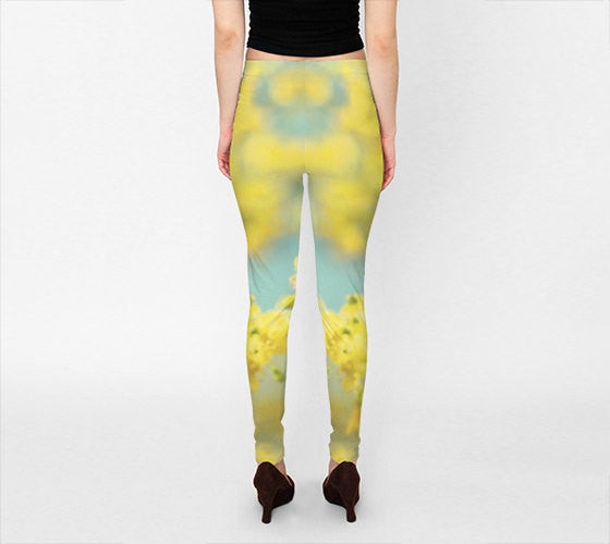 df07c67a1ca8 Art Leggings Capris Sunny Blooms 2 fine art Modern Flower ...