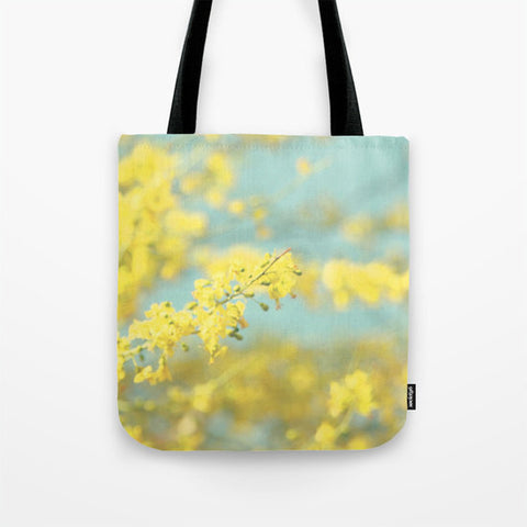 Art Tote Beach Bag Sunny Blooms 2 fine art Modern Flower photography spring summer Fashion yellow bokeh circle blue geometric