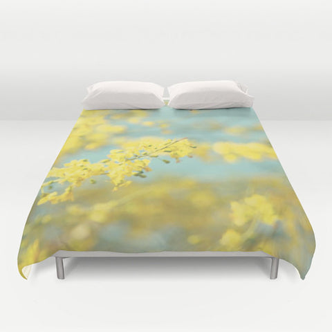 Art Duvet Cover Sunny Blooms 2 fine art Modern Flower photography home decor bright yellow bokeh circle pastel sky blue geometric abstract - Sylvia Coomes