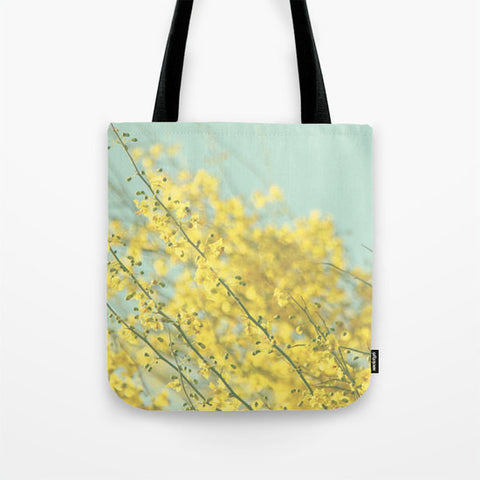 Art Tote Beach Bag Sunny Blooms 3 fine art Modern Flower photography spring summer Fashion yellow bokeh circle blue geometric