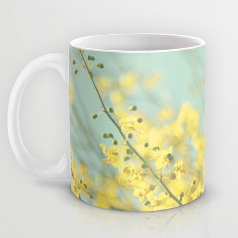 Art Coffee Cup Mug Sunny Blooms 3 fine art Modern Flower photography home decor bright yellow bokeh circle pastel blue geometric abstract - Sylvia Coomes