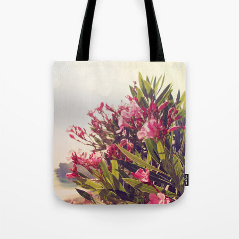 Art Tote Bag Flowers in Paradise 2 fine art Modern Landscape photography Spring Summer Fashion Pink Flowers blue green plant gray grey hazy