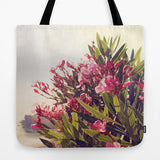 Art Tote Bag Flowers in Paradise 2 fine art Modern Landscape photography Spring Summer Fashion Pink Flowers blue green plant gray grey hazy - Sylvia Coomes