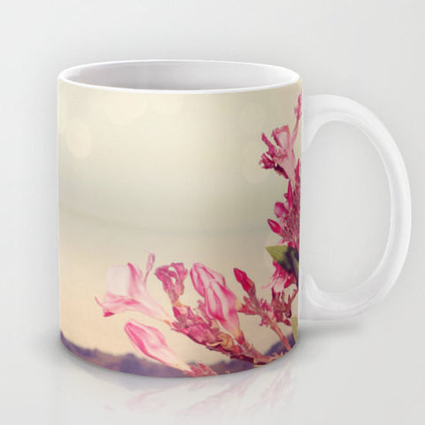 Art Coffee Cup Mug Flowers in Paradise 3 fine art Modern Landscape photography home decor Java Lovers pink tan gray blue Brown floral photo