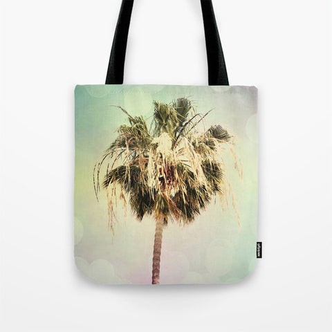 Art Tote Bag Palm Trees 3 fine art photography Summer Fashion Beach pastel pink mint green yellow Aqua Blue Modern California - Sylvia Coomes
