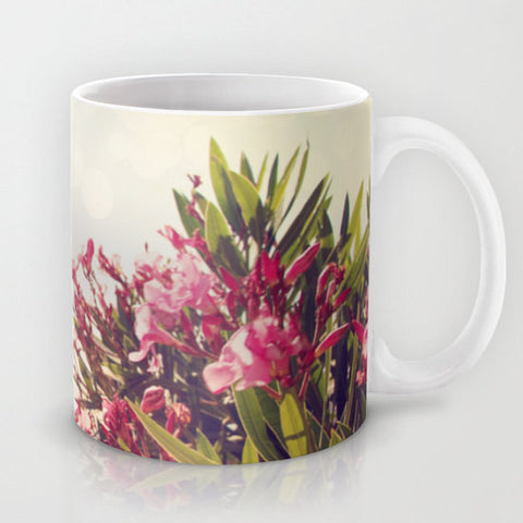 Art Coffee Cup Mug Flowers in Paradise 2 fine art Modern Landscape photography home decor Java Lovers pink tan gray blue green floral photo