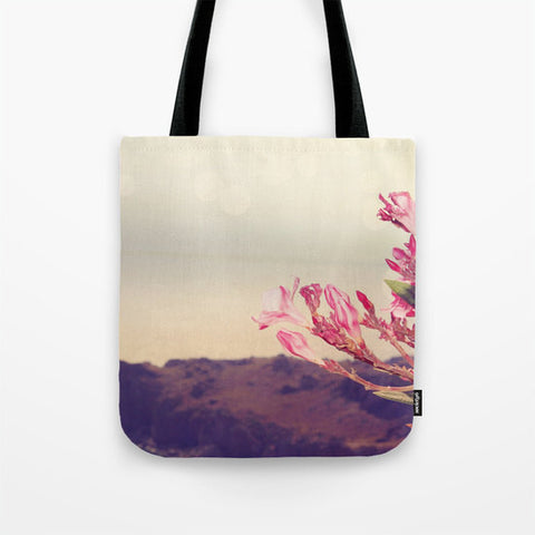 Art Tote Bag Flowers in Paradise 3 fine art Modern Landscape photography Spring Summer Fashion Pink Flowers blue tan brown gray grey hazy