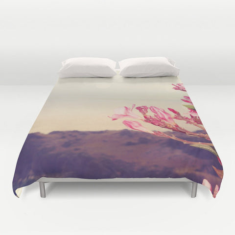Art Duvet Cover Flowers in Paradise 3 fine art Modern Landscape photography home decor Pink Floral printed Bed Cover tan green blue gray