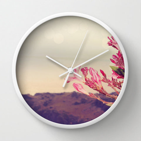 Art Wall Clock Flowers in Paradise 3 fine art Modern Landscape photography home decor pink tan gray grey blue brown floral printed - Sylvia Coomes