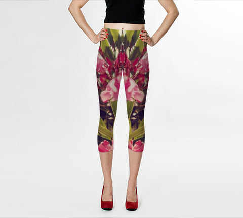 Art Leggings Capris Flowers in Paradise 2 fine art Modern Abstract photography Spring Summer Fashion Pink Green Mod Capri Pants or leggings