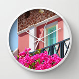 Art Wall Clock Lovely Santorini fine art Modern Landscape photography home decor hot pink flowers light aqua blue white black - Sylvia Coomes