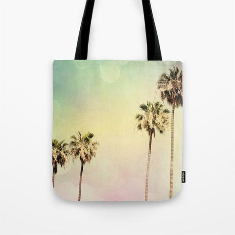 Art Tote Bag Palm Trees 2 fine art photography Summer Fashion Beach pastel pink mint green yellow Aqua Blue Modern California - Sylvia Coomes