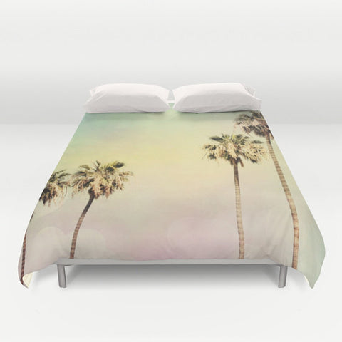Art Duvet Cover Palm Trees 2 fine art photography home decor bedding bedroom bed pink yellow aqua blue light mint green pastel modern - Sylvia Coomes