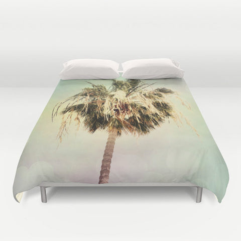 Art Duvet Cover Palm Trees 3 fine art photography home decor bedding bedroom bed pink yellow aqua blue light mint green pastel modern - Sylvia Coomes