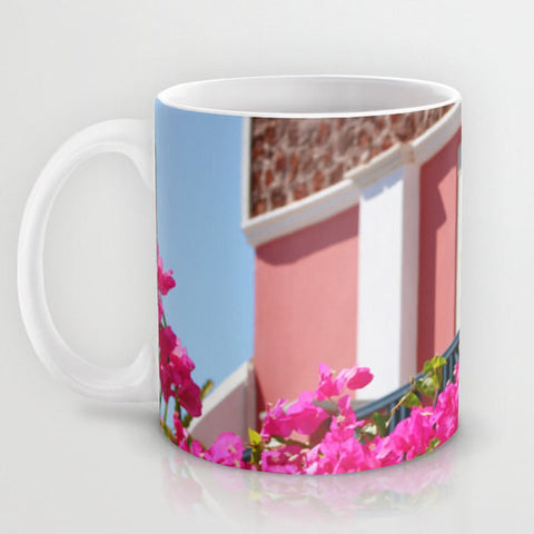Art Coffee Cup Mug Lovely Santorini fine art Modern Landscape photography home decor Java Lovers Hot pink flowers Light Aqua blue photo - Sylvia Coomes