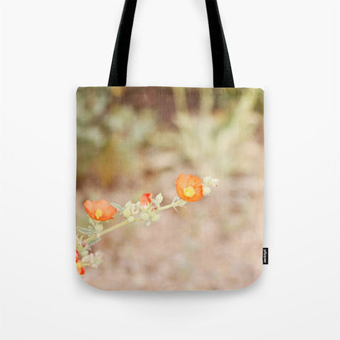 Art Tote Bag Desert Wild Flowers 2 fine art Modern Flower photography Spring Summer Fashion orange green tan brown plant dirt earth tones - Sylvia Coomes