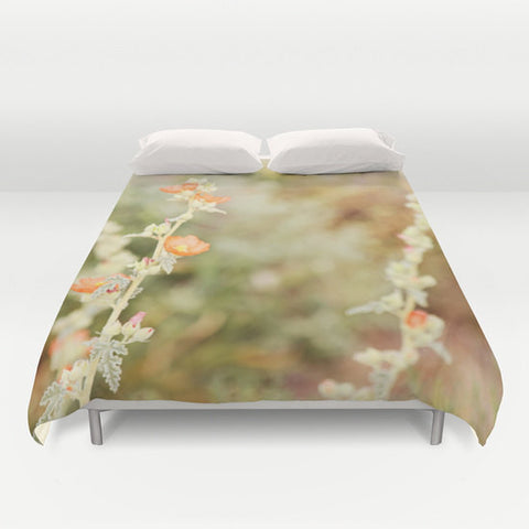 Art Duvet Cover Desert Wild Flowers 3 Modern Flower photography home decor Bed Cover tan green orange brown yellow earth tones bedding Queen
