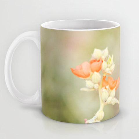 Art Coffee Cup Mug Desert Wild Flowers 3 Modern Flower photography home decor Java Lovers tan yellow orange Brown floral photo Earth Tones