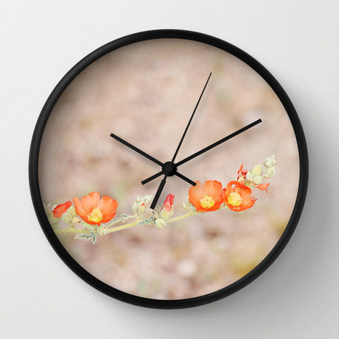 Art Wall Clock Desert Wild Flowers 1 Modern Flower photography home decor tan brown yellow orange green Earth Tones floral printed circles - Sylvia Coomes