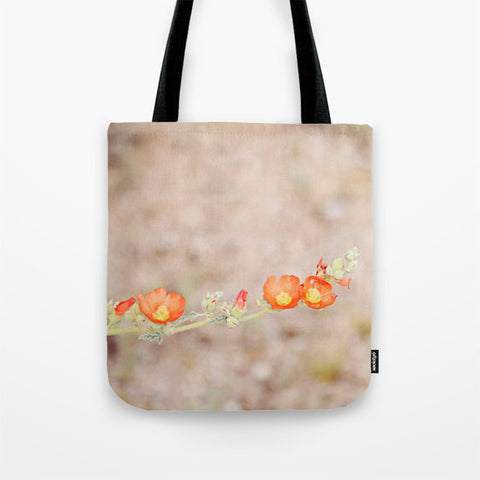 Art Tote Bag Desert Wild Flowers 1 fine art Modern Flower photography Spring Summer Fashion orange green tan brown plant dirt earth tones - Sylvia Coomes