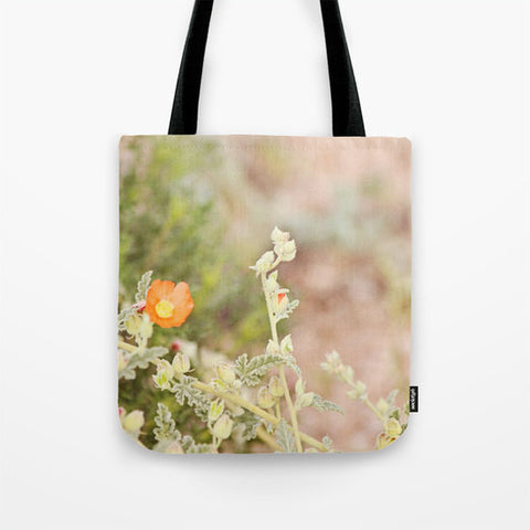 Art Tote Beach Bag Desert Wild Flowers 4 fine art Modern Flower photography Spring Summer Fashion orange green tan brown plant earth tones - Sylvia Coomes