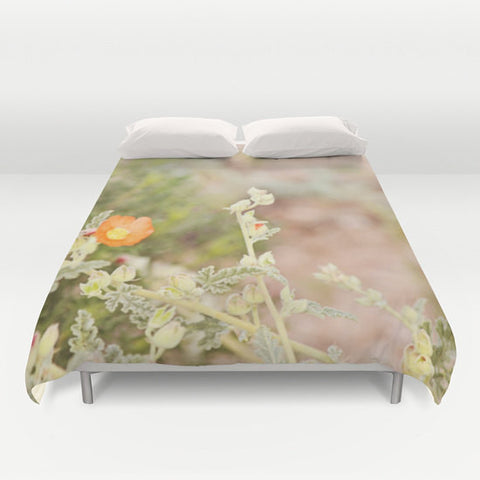 Art Duvet Cover Desert Wild Flowers 4 Modern Flower photography home decor Bed Cover tan green orange brown yellow earth tones bedding Queen - Sylvia Coomes