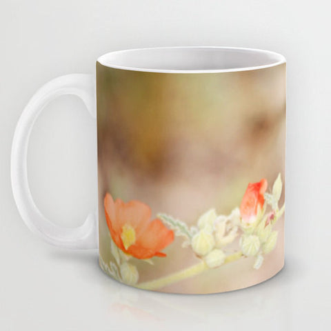 Art Coffee Cup Mug Desert Wild Flowers 2 Modern Flower photography home decor Java Lovers tan yellow orange Brown floral photo Earth Tones - Sylvia Coomes