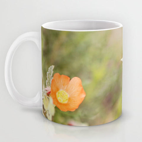 Art Coffee Cup Mug Desert Wild Flowers 4 Modern Flower photography home decor Java Lovers tan yellow orange Brown floral photo Earth Tones