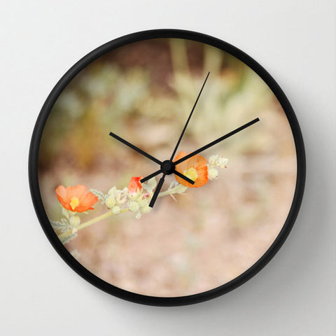 Art Wall Clock Desert Wild Flowers 2 Modern Flower photography home decor tan brown yellow orange green Earth Tones floral printed circles