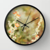 Art Wall Clock Desert Wild Flowers 3 Modern Flower photography home decor tan brown yellow orange green Earth Tones floral printed circles