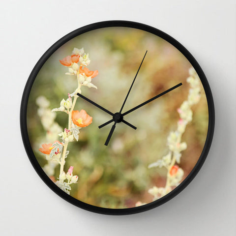 Art Wall Clock Desert Wild Flowers 3 Modern Flower photography home decor tan brown yellow orange green Earth Tones floral printed circles - Sylvia Coomes