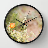 Art Wall Clock Desert Wild Flowers 4 Modern Flower photography home decor tan brown yellow orange green Earth Tones floral printed circles - Sylvia Coomes