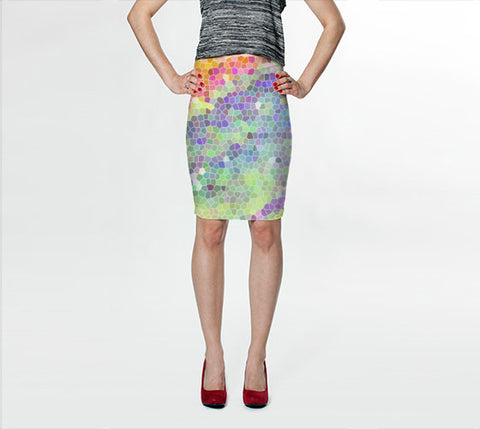 Women's Art Fitted Skirt Color Blast 1 photography Summer Fashion Pencil Skirt pink purple blue green yellow neon white geometric art shapes