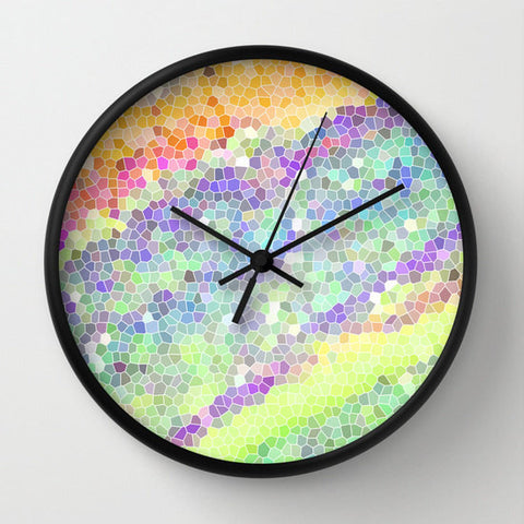 Art Wall Clock Color Blast 1 Modern Geometric Shapes home decor multicolor pastel green yellow pink purple aqua blue white neon color girls - Sylvia Coomes