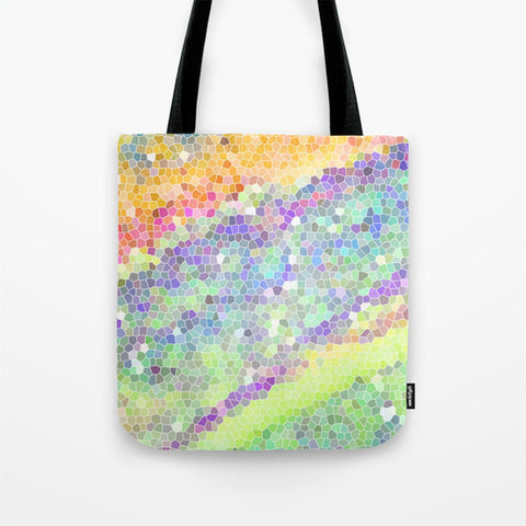 Art Tote Bag Color Blast 1 Modern Geometric Shapes Spring Summer Fashion multicolor art pastel green yellow pink purple aqua blue white neon