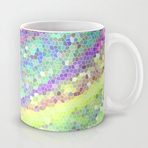 Art Coffee Cup Mug Color Blast 1 Modern Geometric Shapes home decor Java Lovers multicolor pastel green yellow pink purple aqua blue neon - Sylvia Coomes