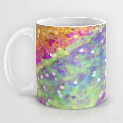 Art Coffee Cup Mug Color Blast 2 Modern Geometric Shapes home decor Java Lovers multicolor pastel green yellow pink purple aqua blue neon - Sylvia Coomes