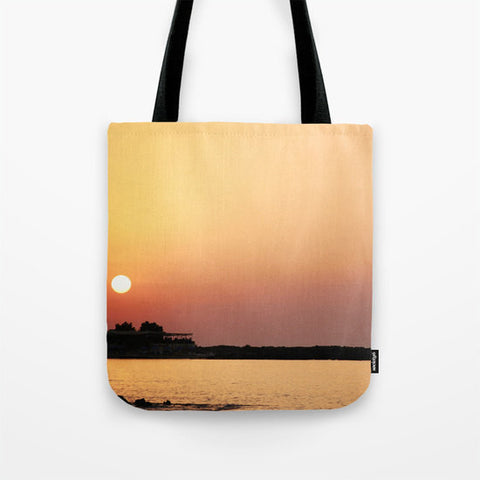 Art Tote Bag Sunset on the Beach Modern Photography Spring Summer Fashion art yellow pink purple peach tones ocean sea nautical