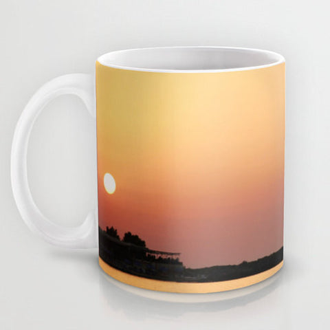 Art Coffee Cup Mug Sunset on the Beach Modern Photography home decor Java Lovers yellow orange peach pink purple tones ocean sea water - Sylvia Coomes