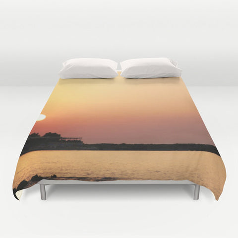 Art Duvet Cover Sunset at the Beach Modern Photography home decor Bed Cover yellow orange peach pink purple tones ocean sea bedding Queen - Sylvia Coomes