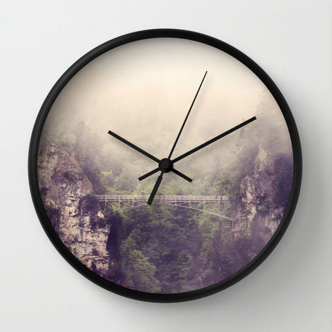 Art Wall Clock Breathtaking Modern Photography home decor forest green trees tan gray grey purple tones Mountains bridge hazy fog nature